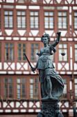 Fountain of Justice at Roemerberg, Frankfurt, Hesse, Germany
