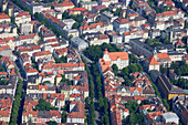 Aerial view of Schwabing district with square Elisabethplatz and Theater der Jugend, Munich, Bavaria, Germany