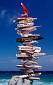 Signpost on the beach, Netherlands Antilles, Bonaire, Caribbean Sea