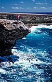 Woman and surging billows, Netherlands Antilles, Bonaire, Caribbean Sea, Washington Slagbaai National Park, Supladó
