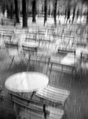 B&W, Bar, Bars, Black-and-White, Blurred, Cafe, Cafe terrace, Cafe terraces, Cafes, Chair, Chairs, Coffee shop, Coffee shops, Contemporary, Daytime, Empty, Exterior, Many, Monochromatic, Monochrome, Nobody, Object, Objects, Outdoor, Outdoor cafe, Outdoor