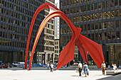 Alexander Calder Flamingo sculpture, Chicago Federal Center plaza. Chicago. Illinois. USA