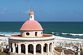 PUERTO RICO San Juan. . San Juan cemetery in Old San Juan near El Morro fort, red-domed chapel from late 19th century