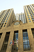 USA, Illinois, Chicago. Chicago Board of Trade building and carved name, exterior, flags