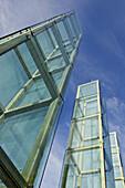 Massachusetts, Boston, New England Holocaust Memorial towers, six glass towers along Freedom Trail