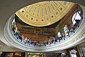 Massachusetts, Boston, Quincy Market, food and gift marketplace, site along Freedom Trail, dining area under dome, circular opening