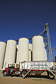Huge grain storage elevator complex. California. Central Valley. USA.