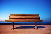 Empty bench by Atlantic Ocean Long Island New York State USA