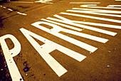 Asphalt, Außen, Boden, Böden, Farbe, Horizontal, Information, Konzept, Konzepte, Oberfläche, Oberflächen, Parking, Parkplatz, Parkplätze, Schild, Schilder, Städtisch, Straße, Straßen, Tageszeit, Warnung, Warnungen, Wort, Worte, Wörter, J93-183996, agefot