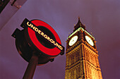 Big Ben tower and underground sign. London. England. UK.