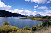 Teton Mountain range, Mount Moran, Snake River and Oxbow Bend. Grand Teton National Park. Wyoming. USA