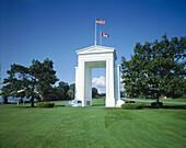 Peace Arch. US-Canadian border. Blaine. Washington and British Columbia