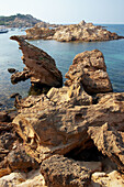 Rock formations, Pregonda Cove. Minorca, Balearic Islands. Spain