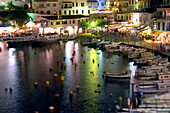 Harbour and touristic area of Cales Fonts at night, Es Castell. Minorca, Balearic Islands. Spain