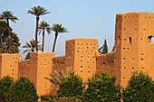 City walls with palm trees. Marrakech. Morocco