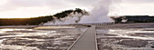 Boardwalk to Excelsior Geyser, Midway Geyser Basin. Yellowstone National Park. Teton County. Wyoming. USA.