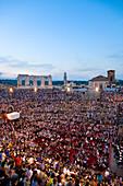 Open-air opera performance of Nabbuco in the evening in the Verona Arena, Verona, Veneto, Italy