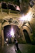 Carrer Bisbe at night, Barrio Gotic, Barcelona, Catalonia, Spain