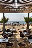 Beach cafe, Platja del Bogatell, Poble Nou, Barcelona, Catalonia, Spain