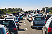 Stop and go traffic on an italian highway, motorway, holiday traffic, traffic jam, holiday, Italy
