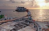 Boatbuilder at Maldives, Maldives, Indian Ocean, Meemu Atoll