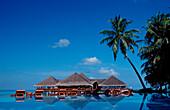 Pool and Beachbar on Maldivian Island, Maldives, Indian Ocean, Medhufushi, Meemu Atoll