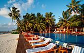 Pool on Maldivian Island, Maldives, Indian Ocean, Medhufushi, Meemu Atoll