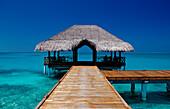 Jetty on Maldivian Island, Maldives, Indian Ocean, Medhufushi, Meemu Atoll
