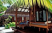 Terrace at Beachbungalow, Maldives, Indian Ocean, Medhufushi, Meemu Atoll