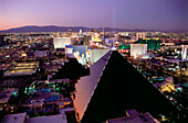 View over Las Vegas and The Strip, Nevada, USA, America