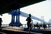 City life with view to Manhattan Bridge, New York, USA, America