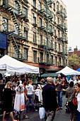 Scene at weekend market in Greenwich Village, Manhattan, New York, USA, America