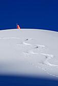 Ski track in snow, Austrian flag in background, Kleinwalsertal, Allgaeu Alps, Vorarlberg, Austria