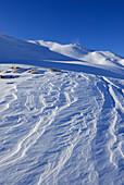 wind erosion in snow beneath Hehlekopf (Hählekopf), Schwarzwassertal, Kleinwalsertal, Allgaeu range, Allgaeu, Vorarlberg, Austria