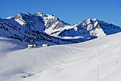 Snow-covered alpine huts, Haldenwanger Kopf, Allgaeu Alps, Vorarlberg, Austria