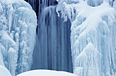 Frozen water of Bridal Veil Falls. Manitoulin Island. Ontario. Canada