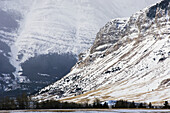 Front Range peaks with fresh snow. Waterton Lakes National Park, Alberta, Canada