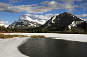 Open water of Vermilion Lakes with Mt. Rundle. Banff National Park, Alberta, Canada