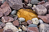 Weathered boulders and pebbles along Lake Huron shore. Killarney. Ontario