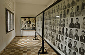 Photographs of victims of Tuol Sleng (Security Prison 21, or S-21). Phnom Penh, Cambodia