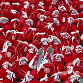 Background, Backgrounds, Close up, Close-up, Closeup, Color, Colour, Concept, Concepts, Footgear, Footwear, Indoor, Indoors, Inside, Interior, Many, Pattern, Patterns, Red, Shoe, Shoes, Sneakers, Sports shoe, Sports shoes, Square, Still life, K49-281034,