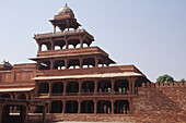 Panch Mahal, an elegant, airy 5 storeyed pavilion. Each floor is smaller than the one below it and it tapers off to form a dome on the top. Fatehpur Sikri, India