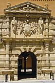 Condes de Cirat Palace (Casa Grande). XVIth century mannerist style building. Main façade. Almansa. Castilla la Mancha. Albacete. Spain.