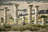 Ruins of basilica in the old roman city of Baelo Claudia (II BC). Tarifa. Cadiz province. Spain