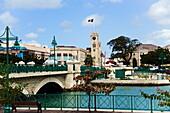 View along bridge to parliament building, Bridgetown, Barbados, Caribbean