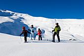 Back country skiers on the way, Maennlichen, Grindelwald, Bernese Oberland, Canton of Bern, Switzerland
