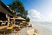 Empty beach restaurant, The Sands, at Nomad, Diani Beach, Kenya