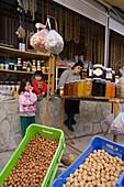 fruits, Soudzoukos, almond sweets, shop, Moutoullas, Troodos mountains, Cyprus