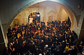 Candlelight mass on Easter Sunday, Orthodox Easter ceremony, Omodos monastery, Troodos mountains, South Cyprus, Cyprus