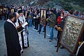 Priests at an icon procession, People holding icons, Orthodox icon procession, Agros, Troodos mountains, South Cyprus, Cyprus